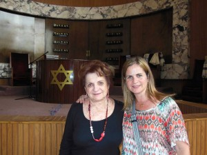 Evelyn and Cila at synagogue