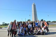 The Cincinnati women visit Revolution Square in Havana.